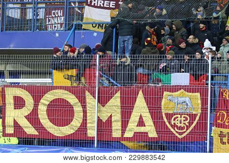 Kharkiv, Ukraine - February 21, 2018: As Roma Supporters Show Their Support During Uefa Champions Le