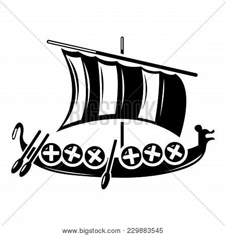Viking Ship Icon. Simple Illustration Of Viking Ship Vector Icon For Web