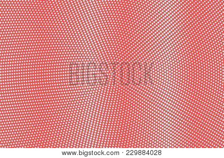 Blue And Red Dotted Halftone. Subtle Dotted Gradient. Half Tone Vector Background. Abstract Futurist