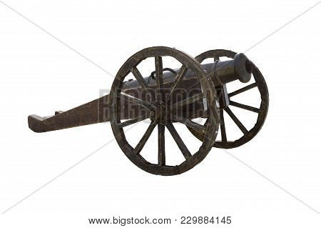 Medieval Cast-iron Cannon On A Wooden Carriage Isolated