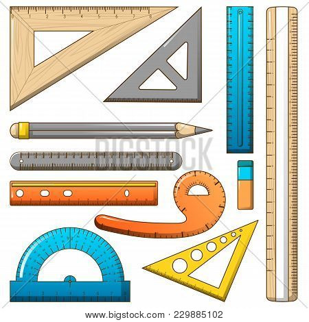 Ruler Measure Pencil Icons Set. Cartoon Illustration Of 10 Ruler Measure Pencil Vector Icons For Web