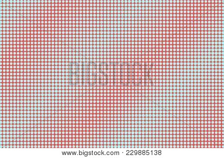 Blue Red Dotted Halftone. Regular Oversized Dotted Gradient. Half Tone Vector Background. Abstract F