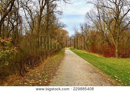 Rails-to-trails Bike Path Along The Youghiogheny River In Western Pennsylvania In Autumn.