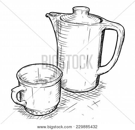 Vector Artistic Pen And Ink Hand Drawing Illustration Of Teapot And Cup.