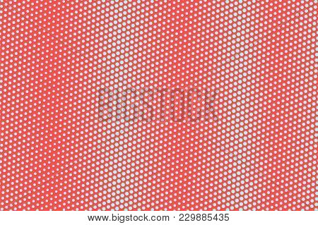 Blue Red Dotted Halftone. Vertical Oversized Dotted Gradient. Half Tone Vector Background. Abstract
