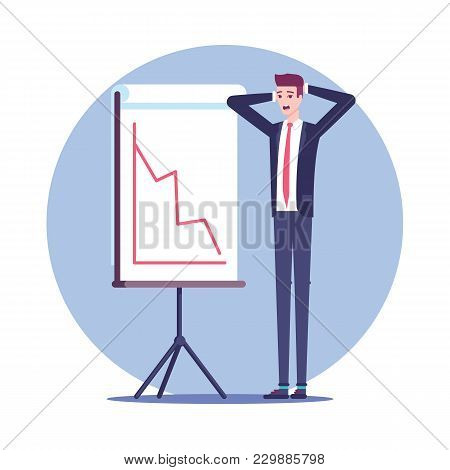 Surprised Businessman Standing Clutching At The Head Near The Falling Graph On The Board For Present