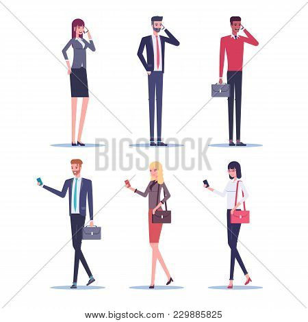 Set Of Businessmen And Businesswomen Talking On A Mobile Phone And Using A Smartphone While Walking