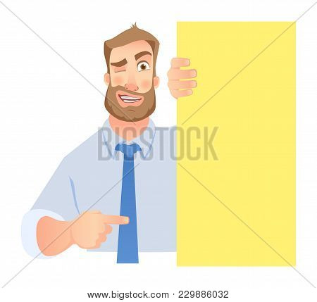 Businessman Holding Blank Signboard. Winking Businessman Points To Banner.  Illustration Set