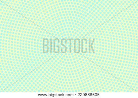 Cyan Yellow Dotted Halftone. Centered Radial Dotted Pattern. Half Tone Vector Background. Abstract P