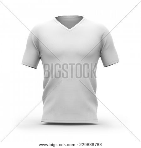 Men's white v-neck t-shirt with short sleeves. Front view. 3d rendering. Clipping paths included: whole object, collar, sleeve.