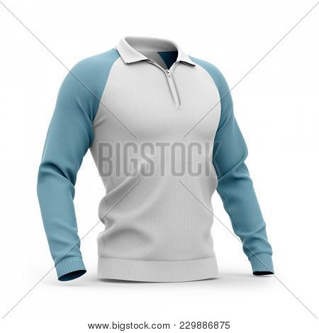 Men's zip neck pullover with raglan sleeves, rubber cuffs and collar. Half-front view. 3d rendering. Clipping paths included: whole object, collar, sleeve, zipper.