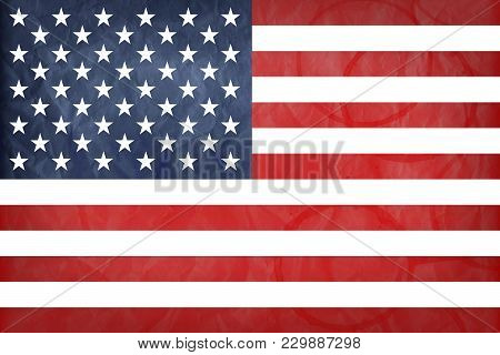 American Flag With Vintage Look On Paper Background