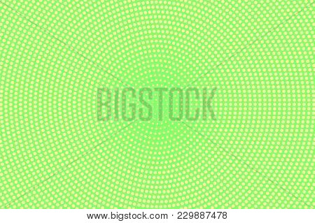 Green Yellow Dotted Halftone. Centered Faded Dotted Gradient. Half Tone Vector Background. Abstract
