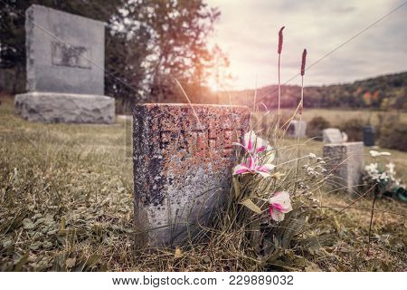 An old grave inscribed with the word