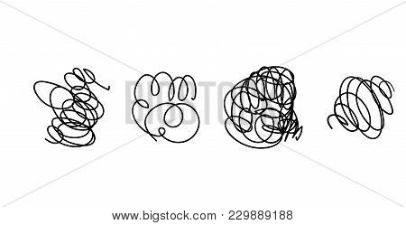 Vector Light Set Of Hand Drawn Scribble Line Shapes. . Set Of Hand Drawn Scribble Symbols Isolated O