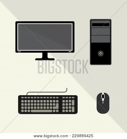 Vector Illustration Of Hardware Technology Computer Set