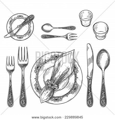 Table Setting Drawing. Hand Drawing Dinnerware With Napkin In Ring And Plate, Decorative Fork And Kn
