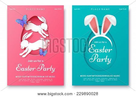 Easter Party Invitation Flyer Concept. Pink And Blue Easter Party Poster With Bunny Ears, Rabbits An