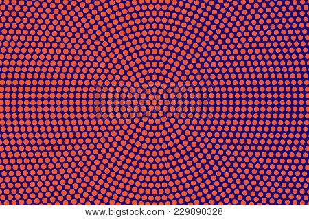 Blue Orange Dotted Halftone. Round Oversized Dotted Pattern. Half Tone Vector Background. Artificial