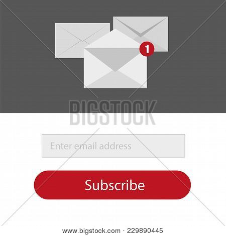 Light Subscribe To Newsletter Form With Button In Red, Grey And Whitte Colors - Email Send Concept V