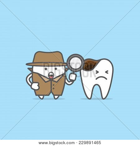 Tooth Character Detective With Decayed Tooth Illustration Vector On Blue Background. Dental Concept.