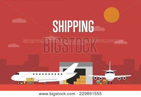 Commercial Air Shipping Service Banner  Illustration. Forklift Truck Loading Cargo Jet Airplane And