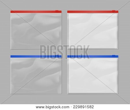 Realistic Plastic Zipper Bag Mock Up Set Isolated On Grey Background  Illustration. Blank Red And Bl