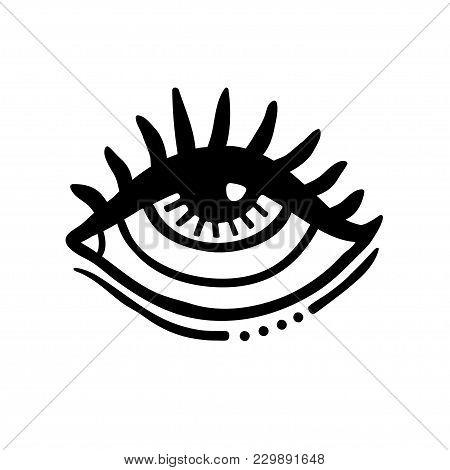 Hand Drawn Eye. Doodle Style. Tattoo Design Element.the Third Eye Vector Illustration.