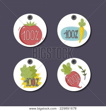 Eco And Bio Food Labels Set Isolated On Perpl Background. Natural Farm Products Round Price Tags For