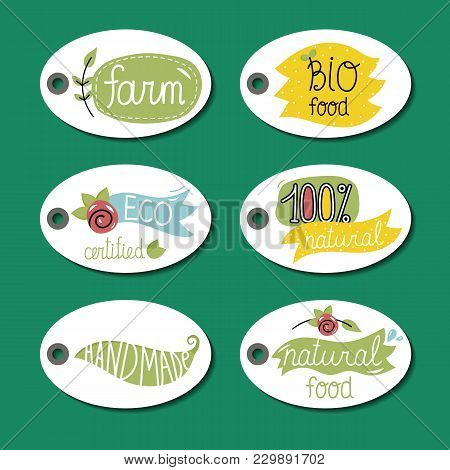 Eco And Bio Food Labels Set Isolated On Green Background. Natural Farm Products Round Price Tags. Ce