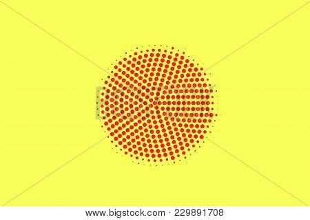 Yellow Red Dotted Halftone. Centered Spot Dotted Gradient. Half Tone Vector Background. Artificial T