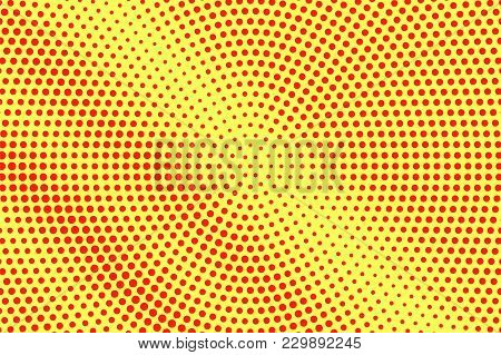 Yellow Red Dotted Halftone. Faded Radial Dotted Gradient. Half Tone Vector Background. Artificial Te