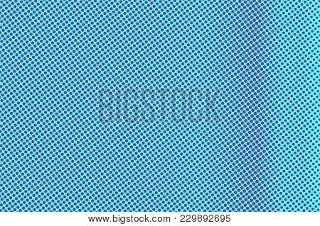 Blue Violet Dotted Halftone. Vertical Frequent Dotted Gradient. Half Tone Vector Background. Artific