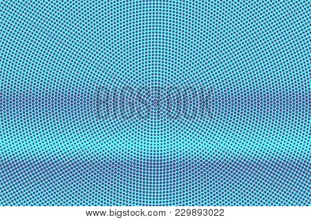 Blue Violet Dotted Halftone. Horizontal Smooth Dotted Gradient. Half Tone Vector Background. Artific