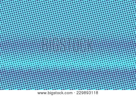 Blue Violet Dotted Halftone. Horizontal Rough Dotted Gradient. Half Tone Vector Background. Artifici