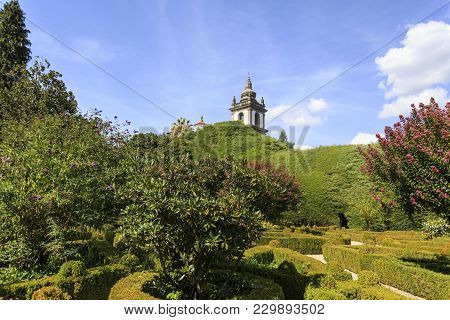 Vila Real, Portugal - September 22, 2017: The Superb Gardens Of The Mateus Palace With A Glance Of T