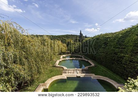 Vila Real, Portugal - September 22, 2017: Set Of Three Water Tanks In Cascade In The Mateus Palace G