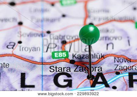 Stara Zagora Pinned On A Map Of Bulgaria