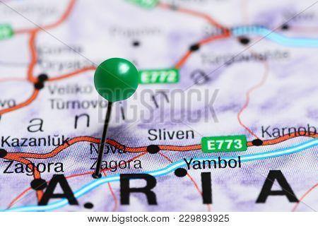 Nova Zagora Pinned On A Map Of Bulgaria