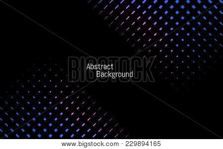 Abstract Dark Stylish Background. Blue And Purple Backdrop. Color Dotted Lines On Black Background.