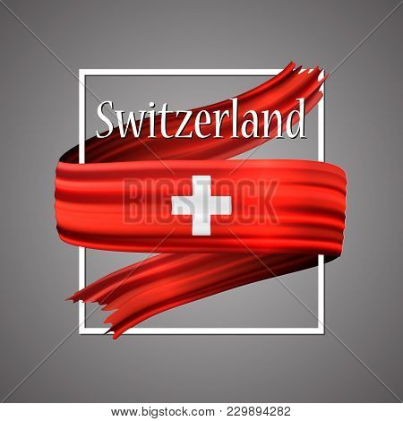 Switzerland Flag. Official National Colors. Switzerlandish 3d Realistic Ribbon. Isolated Waving Vect