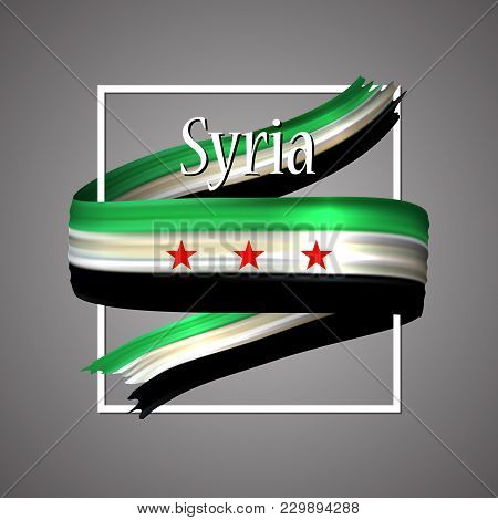 Syria Flag. Official National Colors. Syrian 3d Realistic Ribbon. Isolated Waving Vector Glory Flag