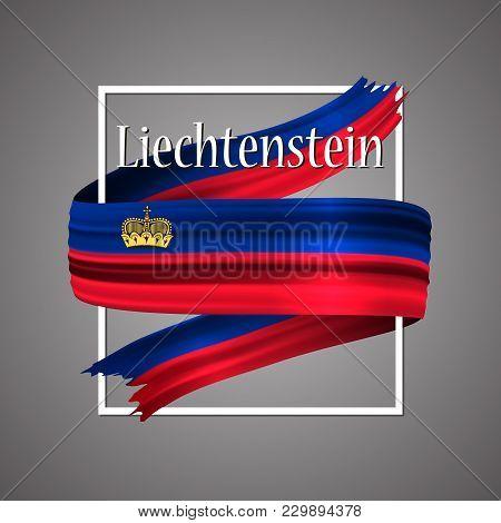 Liechtenstein Flag. Official National Colors. Liechtensteinische 3d Realistic Ribbon. Isolated Wavin