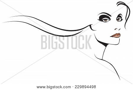 Graphic Woman Beauty With Stylized Long Flowing Hair
