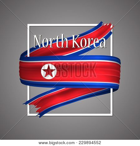 North Korea Flag. Official National Colors. North Korean 3d Realistic Ribbon. Isolated Waving Vector