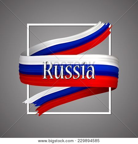 Russian Federation Flag. Official National Colors. Russia 3d Realistic Ribbon. Isolated Waving Vecto
