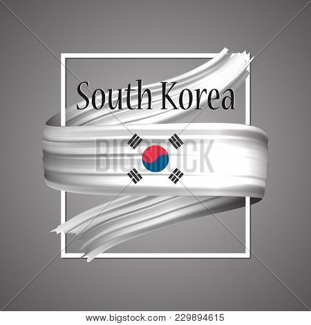 South Korea Flag. Official National Colors. South Korean 3d Realistic Ribbon. Isolated Waving Vector