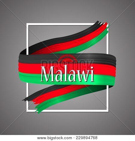 Malavi Flag. Official National Colors. Malavian 3d Realistic Ribbon. Isolated Waving Vector Glory Fl