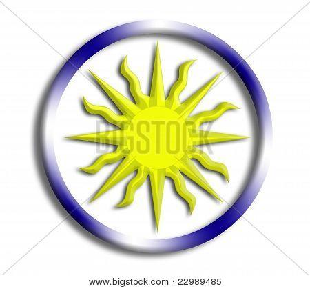 Uruguay button shield on white background