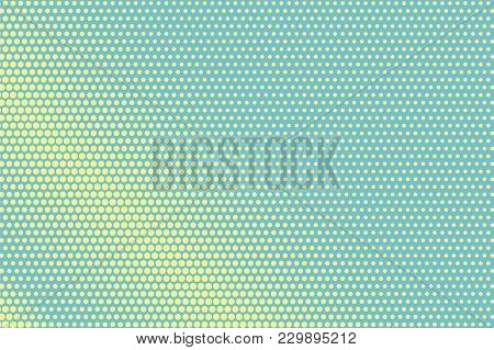 Green Yellow Dotted Halftone. Diagonal Regular Dotted Gradient. Half Tone Vector Background. Artific